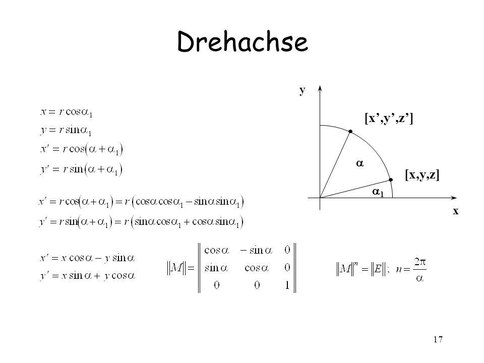 Drehachse y [x',y',z'] a [x,y,z] a1 x